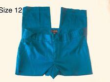 BANANA REPUBLIC Capris Pants Women's 12 Stretch Teal Flat Front Cotton Blend