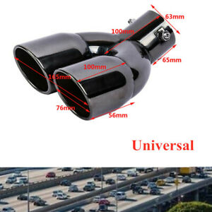 1x Universal Car 63mm Double Exhaust Pipe Tail Muffler End Tip Stainless Steel