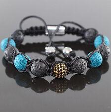 Damen Lava Beads Shamballa mit Zirkon Spacer Beads verstellbar für Frauen