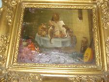 Antikes Gemälde Katzenkonzert wohl 18.Jh. Tier Musikanten DEFEKT altes Bild Eule