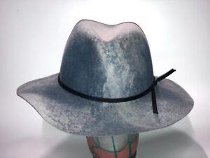 Rare Goorin Bros Ms. Danke  Blue Slate Swirl Wide Brim Floppy Fedora  Hat L New
