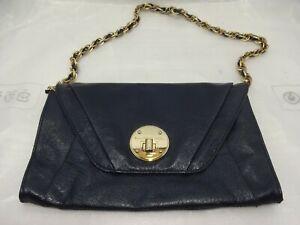 Elliott Lucca Cordoba Clutch Onyx Leather Black Turnlock Shoulder Bag 1000032987