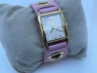 Candie's Women Watch Pink Leather Band Gold Tone Case Analog Wrist Watch