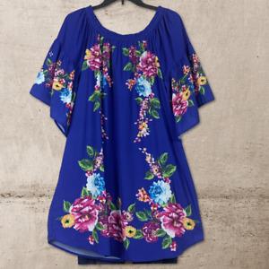 Umgee Boho Floral Paisley Tie Front Trumpet Sleeve Tunic Dress Plus XL 1XL 2XL