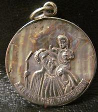 Sterling Silver - MEXICO Abalone Catholic Saint 6.8g - Charm Pendant