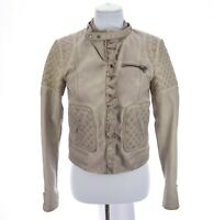 Elevenses Womens Faux Leather Quilted Ruffled Moto Jacket Beige Sz Small