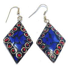 Jewelry Fish Handmade Earrings Nep326 Charming Lapis & Coral Stone Tibetan