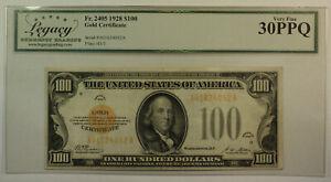 1928 $100 Hundred Dollar Bill Gold Certificate Note Fr. 2405 Legacy VF-30 PPQ