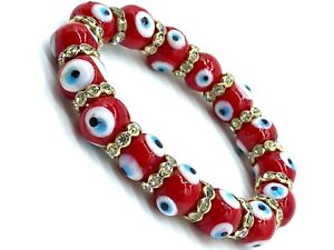 Evil eye Red Glass 12mm Bead Stretch  Bracelet  #2732