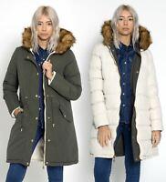 Womens Puffer Reversible Parka Faux Fur Coat Size 12 8 10 14 16 Stone Jacket