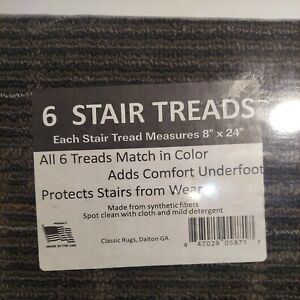 6= Step  In/Outdoor Stair Treads Non-Slip Staircase Carpet  8'' x 24''  C