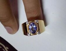 14 K Solid Gold Natural Gem Stone Tanzanite & Diamond Men's Ring Jewelry