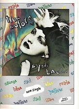 CYNDI LAUPER True Colors single 1986 UK magazine ADVERT / Poster 11x8 inches