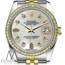 Pearl Face Rolex 31mm Datejust 2 Tone 18K & SS White MOP Mother Of Pearl Diamond