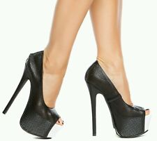 SASSY BLACK AND WHITE HIGH HEEL OPEN TOE NOW $35 WITH FREE SHIPPING