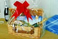 Wicker Christmas Hamper Picnic Basket Make Your Own Gift With Ribbon Storage