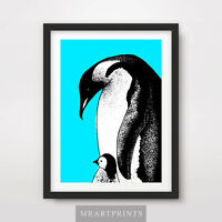 PENGUIN BABY CHICK ART PRINT POSTER Animals Blue Colourful Colorful Illustration