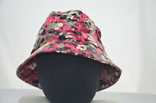 San Diego Hat Co Company Pink Flower Floral PVC Bucket Hat Rain Cap 57cm MED NEW