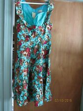 Lindy Bop Size M Victorian Large Flowers Sun Dress Vintage New w Tags Nwt