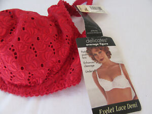 NWT Delicates Red Lace Padded Pushed Up Enhances Cleavage Underwire Bra 34C