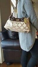COACH Madison Sabrina Op Art Gold Khaki Logo Signature Satchel 12943 Classic