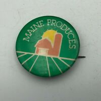 "Vintage Maine Produces Barn Farm Agriculture Silo 1-1/2"" Button Pin Pinback  Y4"