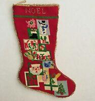 Vtg  Handmade Needlepoint Christmas Stocking Santa Packages Noel Metallic Trim