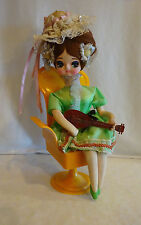 Vtg Senpo Big Eye Doll Mandolin Rotating Base Music Box Could Have Danced All