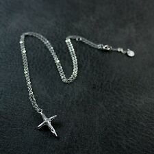 GENUINE 925 Sterling Silver Textured Cross Delicate Necklace UK New