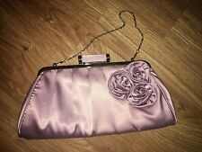 LYDC London 30X15CM mauve flower detail clutch bag with metal chain (EX COND)