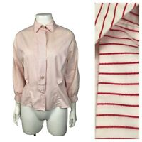 1950s Cotton Blouse Shirt / Red and White Stripe Fitted Top 3/4 Sleeves / Large