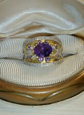 Ross Simons texture 18k yellow gold/sterling silver Amethyst Diamond wide Ring