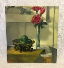 """Still Life Vintage Painting Red Roses 16"""" X 20"""" Bowl of Limes Signed Dated 1967"""