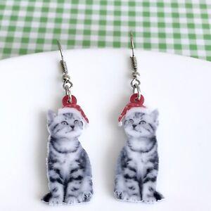 Cute Christmas Cat / Kitten Fun Dangle Acrylic Earrings /Quirky / Novelty