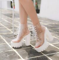Womens Transparent Chunky High Heels Clear Ankle Boots Lace Up Platform Shoes F5