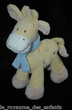 Doudou Grelot Girafe Vache Cheval jaune beige bleu écharpe Baby Club C&A 24 cm
