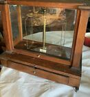 Antique Christian Becker  Balance Scale Apothecary walnut cabinet c1900