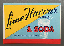 Vintage Original Australian LIME Soft Drink Label, Melbourne c. 1940