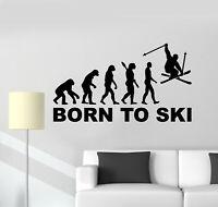 Vinyl Wall Decal Evolution Of Man Ski Extreme Sport Skier Stickers Mural (g493)