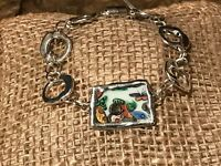 Recycled Porcelain & Metal Jewelry, Asian Collection, Rose Medallion Bracelet