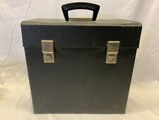 "Vintage Faux Leather Black 12"" Record Box"