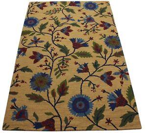 Yellow Carpet 100% Wool Blue Gold Oriental Rug 150x240 CM Hand Woven MH940