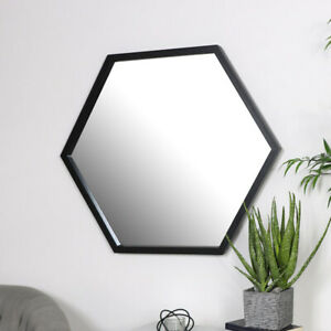 Large Black Hexagon Mirror retro wall home decor shape bathroom bedroom