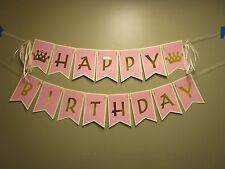 Pink and Gold Happy Birthday Banner, Princess Banner