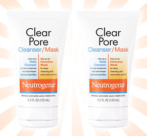 2 Neutrogena Clear Pore Acne Fighting Clay Face Wash/Facial Mask 4.2 OZ