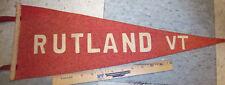 RUTLAND VT Vermont white on light red, vintage Felt Pennant, 23 x 8 in