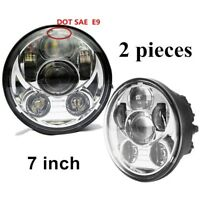 DOT E9 Pair 7 inch Round LED Headlight Chrome Hi/Lo Beam for Jeep LAND ROVER CAR