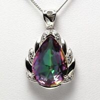 New Solid 925 Sterling Silver Mystic Topaz Gemstones Jewelry Pendant Necklace