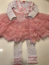 Girl's Gigi Boutique 3 piece set Tulle ruffled white pink 4 5 pants top F11