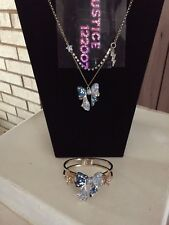 Betsey Johnson Blue  Bow  Statement Necklace and Bangle Bracelet, never worn